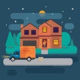 Leveringsvrachtwagen met kartondozen dichtbij huis op achtergrond van het huis van de de zomernacht Snelle leveringsbanner, vecto Stock Afbeelding