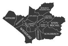 Leverkusen city map Germany DE labelled black illustration. Leverkusen city map Germany DE labelled black Stock Image