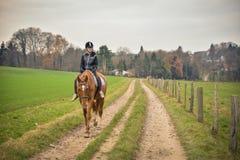 Leverkusen, Germany, November 30 2016, Germany - One teenager wa. Horse riding activity in west Germany, one autumn Stock Photos