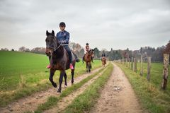 Leverkusen, Germany, November 30 2016 - Three teenagers walking. Horse riding activity in west Germany, one autumn Stock Photography