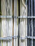 Leverkusen , Germany - September 06 2018 : Close-up of power cable for a computer network server room.  royalty free stock photos