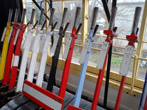 Levers Inside an Old Train Signal Box Stock Images
