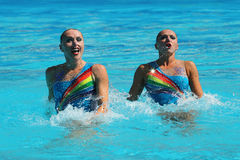 Levgenia Tetelbaum and Anastasia Glushkov Leventhal of Israel compete during synchronized swimming duets free routine preliminary Stock Photography