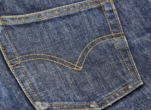 Levi jeans. Blue Denim Jeans Texture With Seams Jeans pocket Stock Image