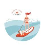 Levi in piedi in su praticare il surfing della pala royalty illustrazione gratis