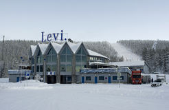 Levi ski resort, Lapland, Finland. Levi is the biggest ski resort in Finland  Internationally Levi is known as one of the event organizers of Audi FIS Ski World Stock Photography
