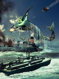 Leviathan. Submarine gigantic monster coming out of the ocean, close to a wrecked ship. Several fighters and a military ship are attacking him. It is also an Royalty Free Stock Photos