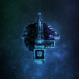 Leviathan. 3D render of large spaceship Royalty Free Stock Images