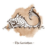 The Leviathan. Legendary sea monster giant whale vector Royalty Free Stock Images