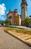Levico Terme. Church with Belfry in the Italian City of Levico Terme Royalty Free Stock Image