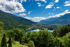 Levico Terme and the Lake - Trentino Italy. Aerial view of the small town of Levico Terme with the lake Lago di Levico and the mountains, Alps. Trentino Alto stock photos