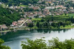 Levico Terme and the Lake - Trentino Italy. Aerial view of the small town of Levico Terme with the lake Lago di Levico. Trentino Alto Adige, Italy, Europe stock photos