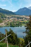 Levico Terme and Lake - Trentino Italy. Aerial view of the small town of Levico Terme with the lake and the mountains. Trentino Alto Adige, Italy, Europe Royalty Free Stock Photography