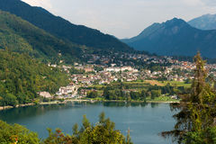 Levico Terme and Lake - Trentino Italy. Aerial view of the small town of Levico Terme with the lake and the mountains. Trentino Alto Adige, Italy, Europe royalty free stock photos