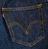 Levis Jeans, fabric, denim indigo Royalty Free Stock Image