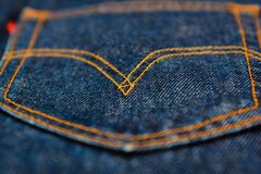 Levis Jeans, fabric, denim indigo. Jeans, fabric, denim rigid, indigo color royalty free stock photo
