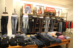 Levis. Jeans on sale in mall Royalty Free Stock Photos