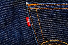 Levis label jeans, fabric, denim indigo Stock Photography