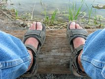 Levis & Sandals Royalty Free Stock Photo