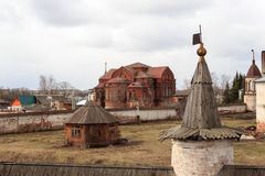Levitan shades of Russian bad weather Yuryev-polsky, Russia. Golden Ring of Russia. In the territory of Archangel Michael monastery in Yuryev-Polsky royalty free stock image