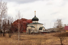 Levitan shades of Russian bad weather Yuryev-polsky, Russia. Golden Ring of Russia. In the territory of Archangel Michael monastery in Yuryev-Polsky stock image