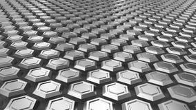 Levitare i hexagones d'acciaio Priorità bassa industriale astratta Immagini Stock