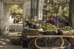 The Levitating Fruit Stall Lady stock photo