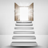 Levitating stairway leading to heaven door flare. Vector illustration Royalty Free Stock Image