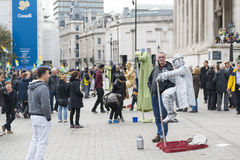 Levitating street artist Royalty Free Stock Photography