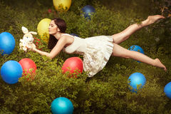 Levitation of a beautiful girl. Royalty Free Stock Images