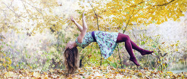 Levitation portrait of young woman Royalty Free Stock Photo