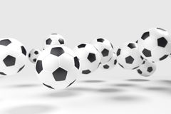 Levitation of the soccer balls (football). Royalty Free Stock Photo