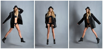 Levitation, triptych Royalty Free Stock Photography