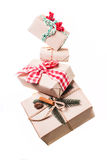 Levitazione dei contenitori di regalo di Natale Fotografia Stock