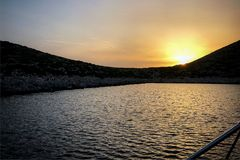 Levitha, a small island part between the Cyclades islands and dhodhekanisos, offers a resting place for long-haul sailors. royalty free stock photo