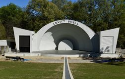 Levittown Shell. This is a Spring picture of Levitt She`ll located in Overton Park in Memphis, Tennessee in Shelby County. This open-air amphitheater was stock image