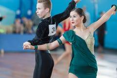 Levkovich Aleksander en Bugakova Evelina Perform jeugd-2 Latijns-Amerikaans Programma Stock Foto