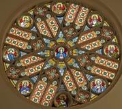 Levoca -在大教堂的玫瑰华饰 库存照片