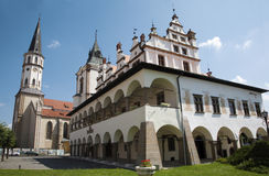 Levoca - renaissance town hall and Saint Jacobs church Royalty Free Stock Photography