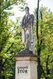 Ludovit Stur statue in Levoca. Levoca, Slovakia - AUGUST 11, 2015: Sculpture of Ludovit Stur 1815-1856 on main square park in Levoca - Slovakia stock photo