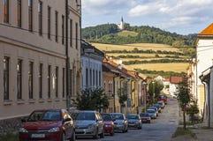 Levoca-Stadt, Slowakei Marianska-hora Hügel auf Hintergrund stockbild