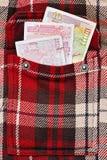 Levs búlgaros no bolso quadriculado do revestimento Imagem de Stock Royalty Free