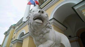Lew biała rzeźba zdjęcie wideo
