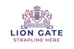 Lew bramy logo Zdjęcia Royalty Free