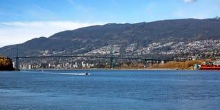 Lew bramy most i miasto Zachodni Wancouver Obraz Stock