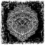 Lew głowa z abstrakcjonistycznym ornamentem na grunge tle ilustracji