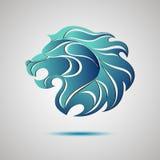 Lew głowy profilu logo Akcyjny wektor Obraz Royalty Free