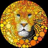 Lew grzywy portreta Wektorowego drapieżnika kota zwierzęcia Abstrakcjonistyczna Dzika ilustracja Obraz Stock