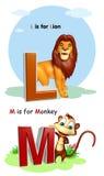 Lew i małpa z Alphabate Fotografia Stock