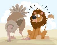 Lew i struś ilustracji